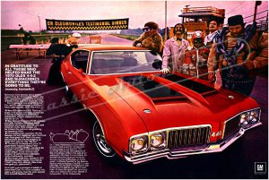 "1970 Oldsmobile 442 Ad Digitized & Re-mastered Poster Print ""Gratitude"" 24"" x 36"""