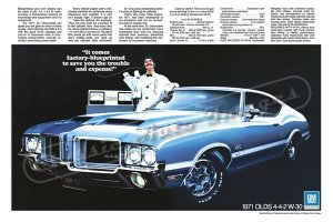 """1971 Oldsmobile 442 Ad Digitized & Re-mastered Poster Print """"It Comes Factory-Blueprinted"""" 24"""" x 36"""""""