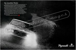 """1968 Plymouth Barracuda Ad Digitized and Re-mastered Poster Print """"Grunchless Wonder"""" 24"""" x 36"""""""