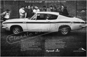 """1969 Plymouth Barracuda Ad Digitized and Re-mastered Poster Print """"Two Schools of Thought"""" 24"""" x 36"""""""