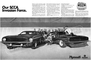 "1970 Plymouth AAR 'Cuda Ad Digitized & Re-mastered Poster Print ""Our SCCA Invasion Force"" 24"" x 36"""