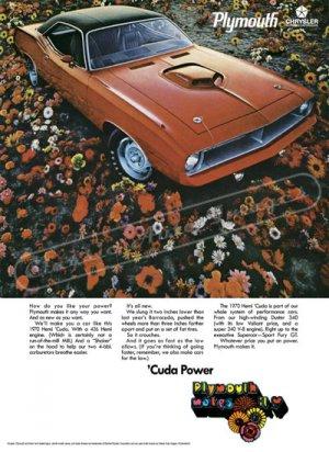 "1970 Plymouth Hemi 'Cuda Digitized & Re-mastered Ad Poster Print ""Cuda Power"" 24"" x 32"""