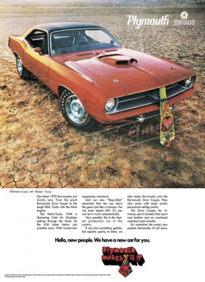 "1970 Plymouth Hemi 'Cuda Ad Digitized & Re-mastered Poster Print ""Hello New People"" 24"" x 32"""