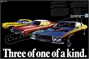 """1973 Plymouth RR, Duster, 'Cuda Ad Digitized & Re-mastered Poster Print """"3 of 1 of a Kind"""" 24"""" x 36"""""""