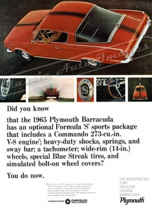 """1965 Plymouth Barracuda Ad Digitized and Re-mastered Poster Print """"Did You Know"""" 16"""" x 24"""""""