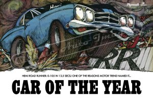 """1969 Plymouth Road Runner Ad Digitized and Re-mastered Poster Print """"Car of the Year"""" 24"""" x 36"""""""