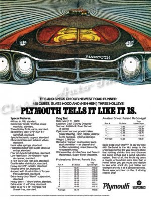 """1969 Plymouth Road Runner Ad Digitized and Re-mastered Print """"440 Cubes, and 3 Holleys!"""" 24"""" x 32"""""""