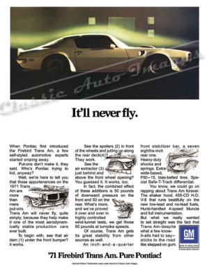 """1971 Pontiac Firebird Trans Am Ad Digitized & Re-mastered Poster Print """"It'll Never Fly"""" 24"""" x 32"""""""