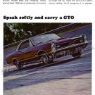 "1966 Pontiac GTO Ad Digitized & Re-mastered Poster Print ""Speak Softly and Carry a GTO"" 24"" x 32"""