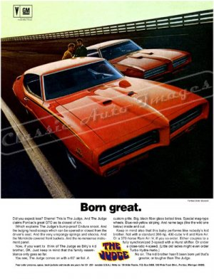 "1969 Pontiac GTO Judge Ad Digitized & Re-mastered  Poster Print ""Born Great"" 24"" x 32"""