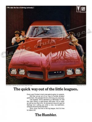 """1970 Pontiac GTO Ad Digitized & Re-mastered Print """"Fastest Way Out of the Little Leagues"""" 24"""" x 32"""""""