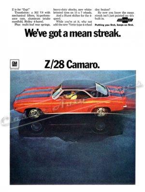 "1969 Camaro Z/28 Ad Digitized & Re-mastered Poster Print ""We've Got a Mean Streak"" 24"" x 32"""
