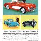 "1961 Chevrolet Corvette Ad Digitized & Re-mastered Print ""Chevrolet Unleashes New Corvette"" 18""x24"""