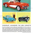 "1961 Chevrolet Corvette Ad Digitized & Re-mastered Print ""Chevrolet Unleashes New Corvette"" 24""x36"""