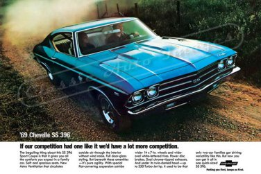 """1969 Chevelle SS 396 Ad Digitized & Re-mastered Print """"If Our Competition Had One Like It"""" 24"""" x 36"""""""