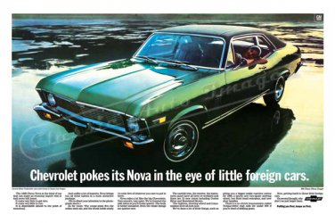 "1969 Chevrolet Nova Ad Digitized & Re-mastered Print ""Pokes Its Nova in the Eye"" 18"" x 24"""