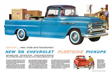 """1958 Chevrolet Fleetside Ad Digitized & Re-mastered Print """"New, Wide and Handsome"""" 18"""" x 24"""""""