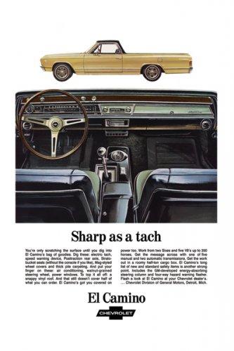 "1967 Chevrolet El Camino Ad Digitized & Re-mastered Print ""Sharp as a Tach"" 18"" x 24"""