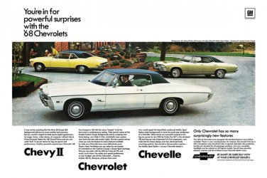 """1968 Chevrolet Lineup Ad Digitized & Re-mastered Print """"Powerful Suprises""""  24"""" x 36"""""""