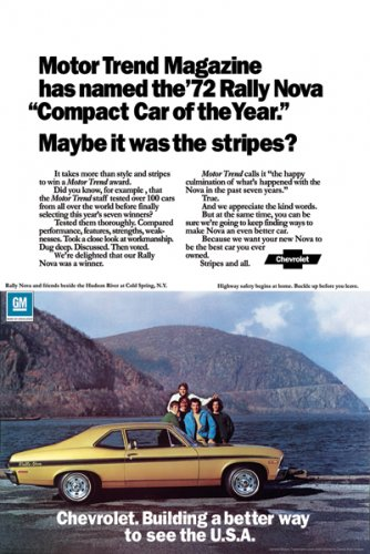 """1972 Chevrolet Rally Nova Ad Digitized & Re-mastered Print """"Compact Car of the Year"""" 18"""" x 24"""""""