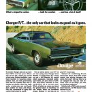 "1968 Dodge Charger Ad Digitized & Re-mastered Print ""Looks as Good as It Goes"" 18"" x 24"""