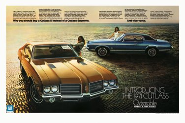 "1971 Oldsmobile Cutlass Ad Digitized & Re-mastered Print ""Vice Versa"" 18"" x 24"""