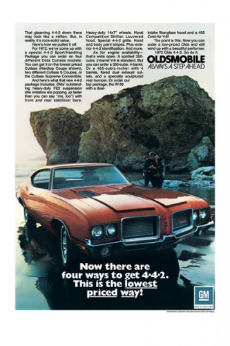 """1972 Oldsmobile 4-4-2 Ad Digitized & Re-mastered Print """"There Are Four Ways to Get 4-4-2"""" 18"""" x 24"""""""