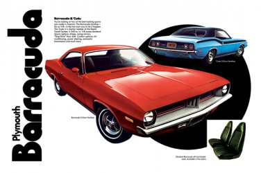 """1973 Plymouth Barracuda Ad Digitized & Re-mastered Print """"Two of the Best Looking""""  24"""" x 36"""""""