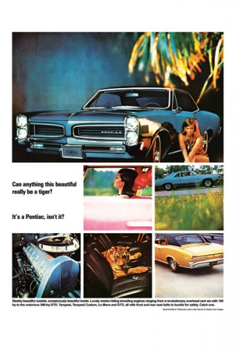 """1966 Pontiac GTO Ad Digitized & Re-mastered Print """"Can Anything This Beautiful"""" 18"""" x 24"""""""
