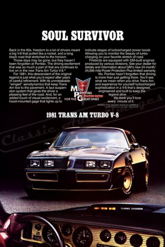 "1981 Pontiac Firebird TransAm Ad Digitized & Re-mastered Print ""Soul Survivor"" 18"" x 24"""