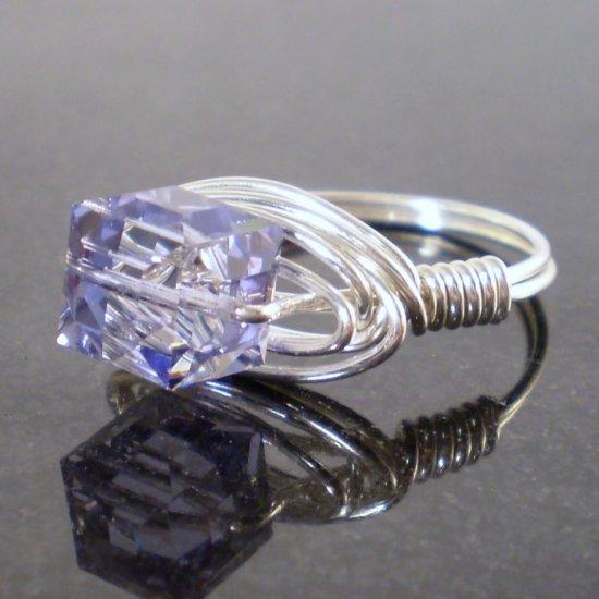 Beautiful Swarovski Tanzanite Ring in Sterling Silver