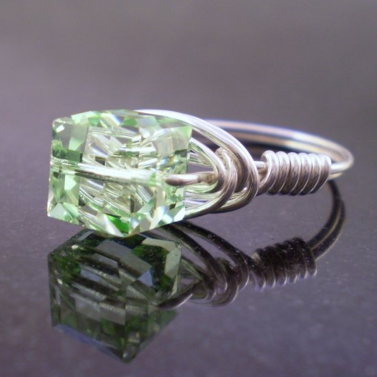 Swarovski Chrysolite Ring in Sterling Silver