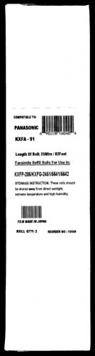 2-pack of KX-FA91 Fax Refill Rolls for Panasonic KX-FP205 Also for Panasonic KX-FP215 and KX-FG2451