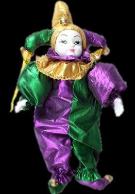 "18"" Mardi Gras Jester Porcelain Doll"