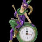 Purple Green & Gold Standing Mardi Gras Jester Clock