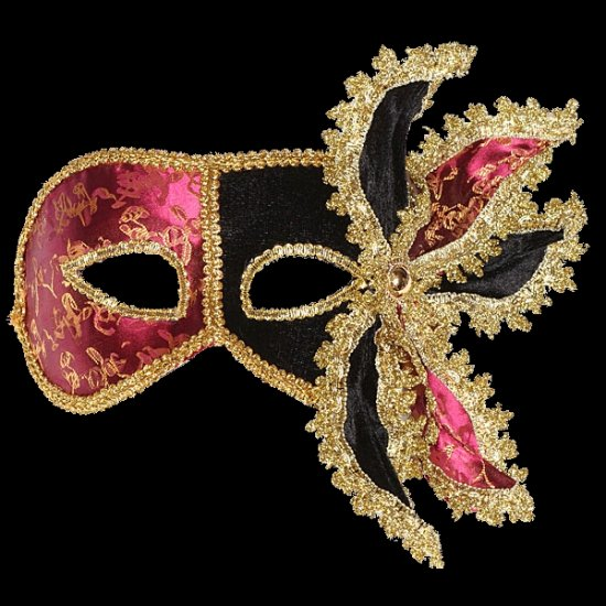 Black & Pink Masquerade Mask | Black Masquerade Mask