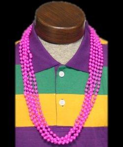 "7mm Metallic Pink Beads 33"" Pink Pearl Throw Beads"