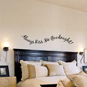 Always Kiss Me Goodnight Bedroom Wall Decal Applique FREE US SHIPPING