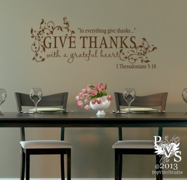 Superieur Give Thanks With A Grateful Heart Scripture Wall Decal You Choose Color  FREE US SHIPPING