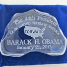 Obama inauguration 24% lead crystal paperweight / plaque, glass iceberg forward