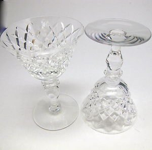 Pair of Signed Hawkes hand  Cut Crystal Glass sherbet cross cut
