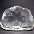 Hand Cut Glass  shamrock pattern paperweight, Ireland 24% lead crystal