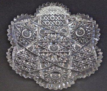 "American Brilliant Period Cut Glass 6"" plate Irving Antique"