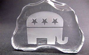 Republican 24% lead crystal paperweight / plaque, glass iceberg
