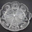 ABP cut glass 2 handle dish American brilliant period Antique