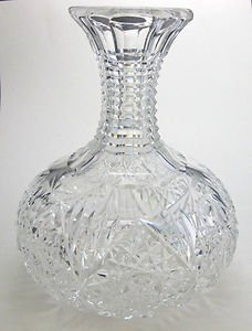 ABP cut glass stepped neck carafe / vase American brilliant antique crystal