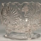 ABP Cut Glass Antique Footed Bowl w/ Hand Cut Flowers, Fern Leaves & Butterflys