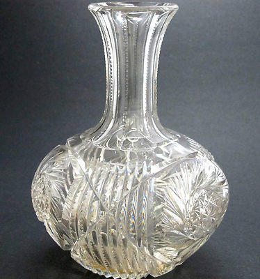 Abp Cut Glass Buzz Star Carafe Vase American Brilliant Antique Crystal