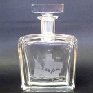 Cut and copper wheel engrave glass decanter with ship