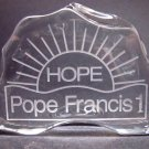 Pope Francis lead crystal paperweight / plaque HOPE Made in USA Christmas gift